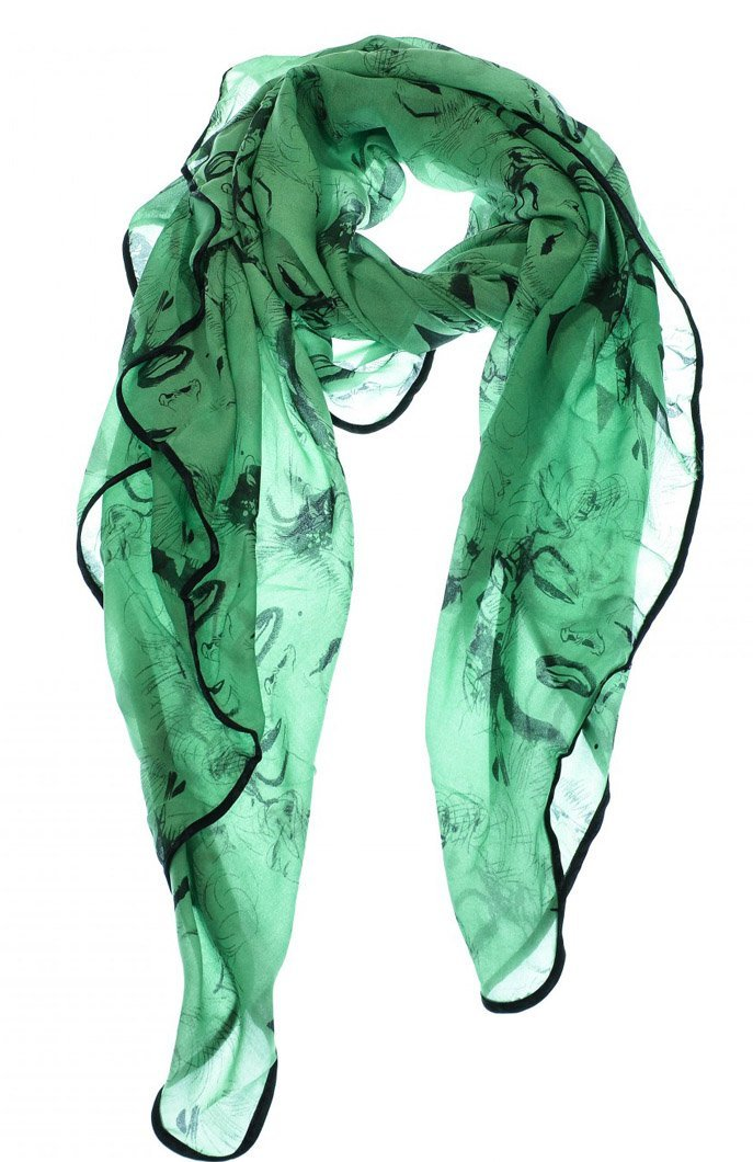 Green Vintage Chiffon Feel Marilyn Monroe Design Scarf/wrap w/Silk Black Border