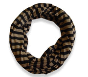 Peach Couture Lightweight Pure Cotton Striped Jersey Knit Infinity Loop Scarf