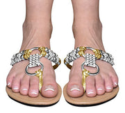 Round Beaded Embellishment Thong Flat Flip Flop Sandal
