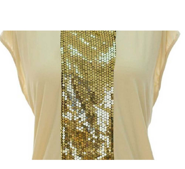 Peach Couture Urban Classic Scoop Neck Sequin Fashion Tunic Top