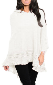 Women's Snug and Warm Crochet Hooded Fringe Wrap Shawl Poncho Cream