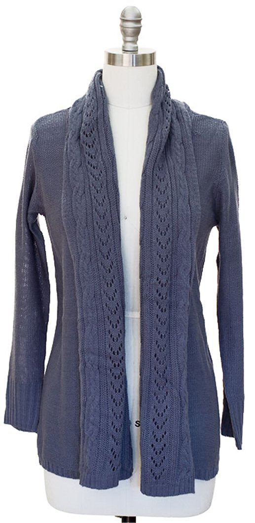 Vintage Knit Draped Cardigan (Medium, Grey)