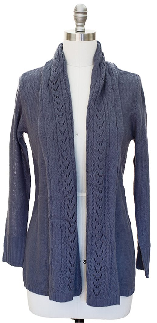 Vintage Knit Draped Cardigan (Small, Grey)