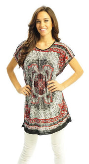 A1303-Floral-Tunic-Top-Red-Sma-Med-KL