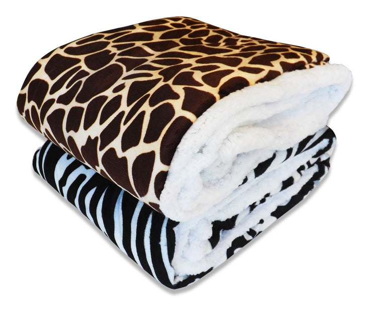 "Couture Home Collection Soft Warm Micro-Mink Sherpa Animal Print 50"" X 60"" Throw Blanket (Giraffe)"