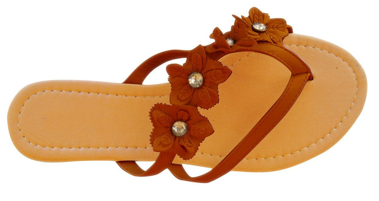 Open-Toe Flower Strap Womens Sandals Dress flip flops (7, Brown)
