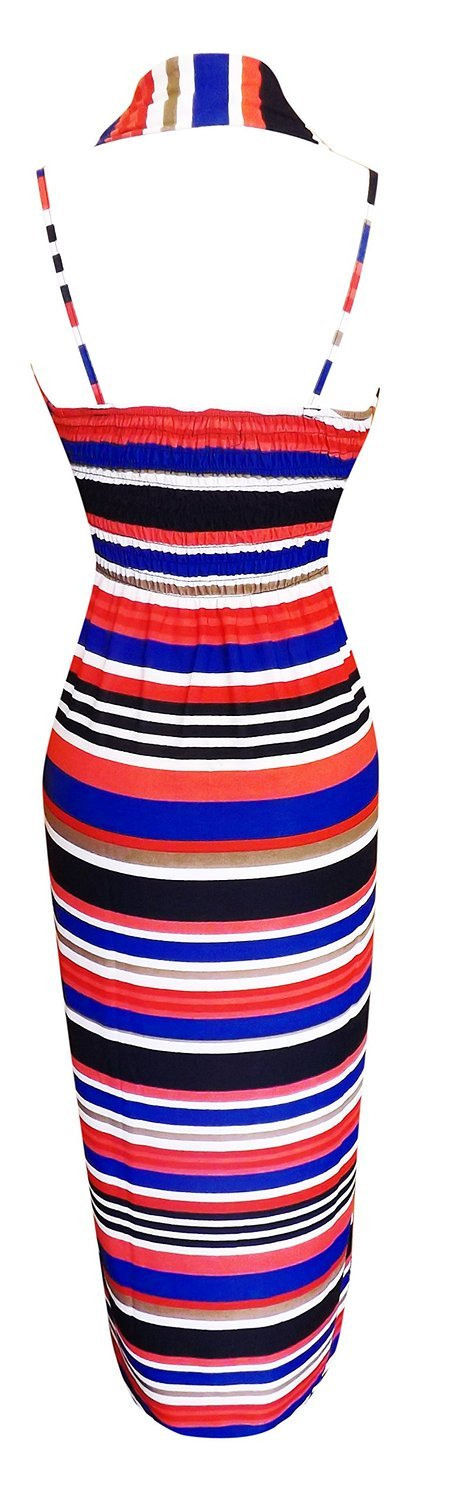 Colorful Light Striped Halter Backless Beach Vacation Maxi Dress