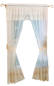 Peach Couture Lacey Sheer 5 Peice One Rod Window Treatment Set