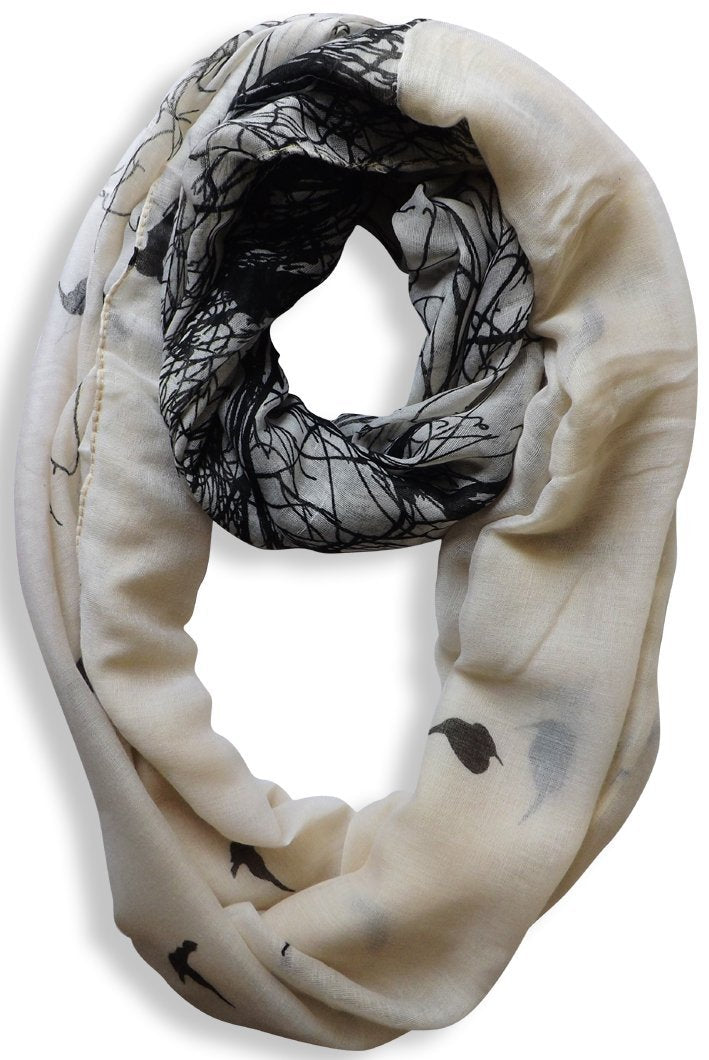 Beige Peach Couture Beautiful Vintage Two Colored Bird Print Infinity Loop Scarf Scarves