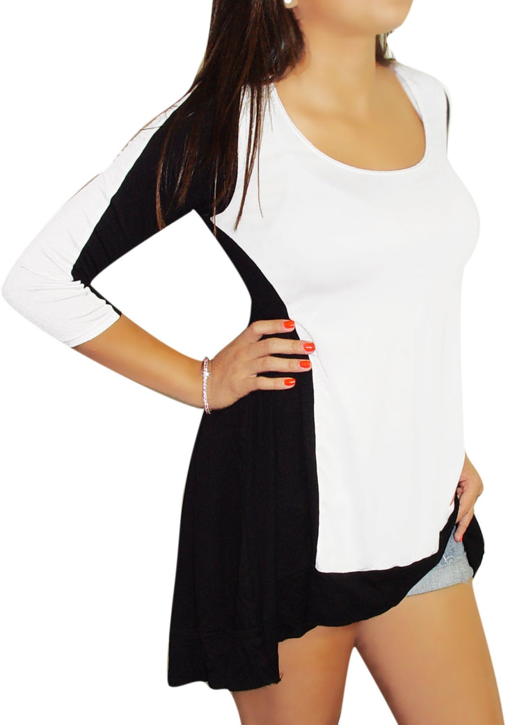 181-B&W-high-low-tunic-top-MEDIUM