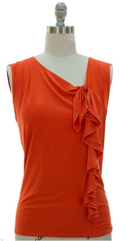 Peach Couture Women's Tank Sleeveless Flawless Angled Neck Line Blouse Tops