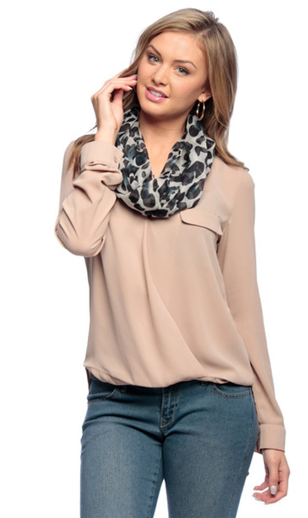 White Women's Retro Fashion Two Tone Animal Print Infinity Loop Scarf
