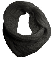 Chunky Hand Knitted Infinity Loop Scarf in Black, Gray, Gold and Red
