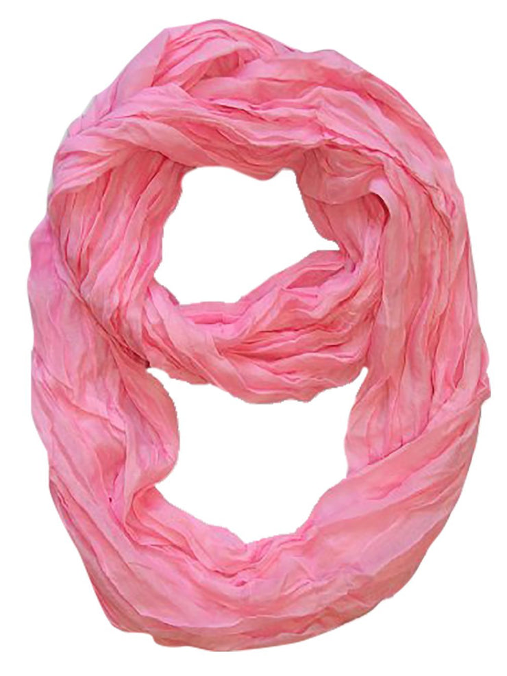 Baby Pink Peach Couture Fashion Lightweight Crinkled Infinity Loop Scarf Neon Faded Ombre
