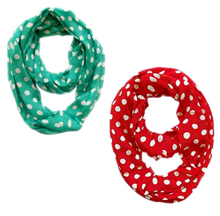 Red and Teal Peach Couture Light and Sheer Polka Dot Circle Print Infinity Loop Scarf