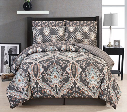 Couture Home Collection Damask 8 Pc Comforter Set Miranda Russia Blue Full