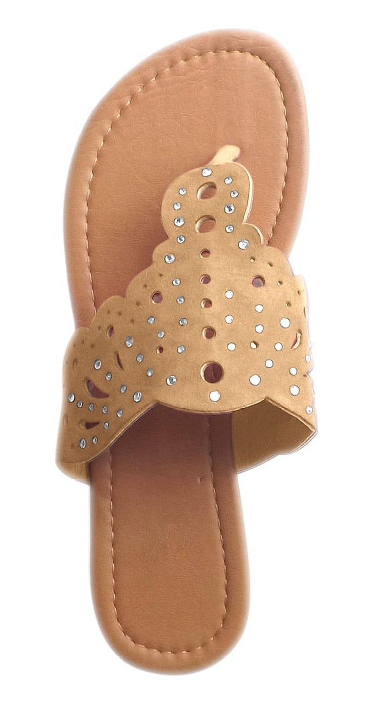 Boho Summer Jewels Flat V-Stap Open Back Thong Sandal