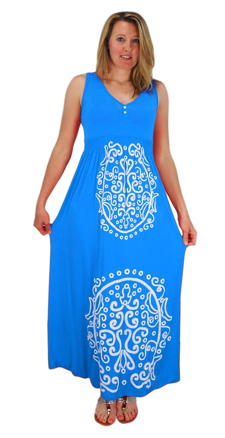 Sleeveless Smocked Damask Embossed Long Maxi Dress