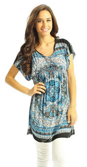 Peach Couture® Adorable Floral Print Lightweight Tunic Top
