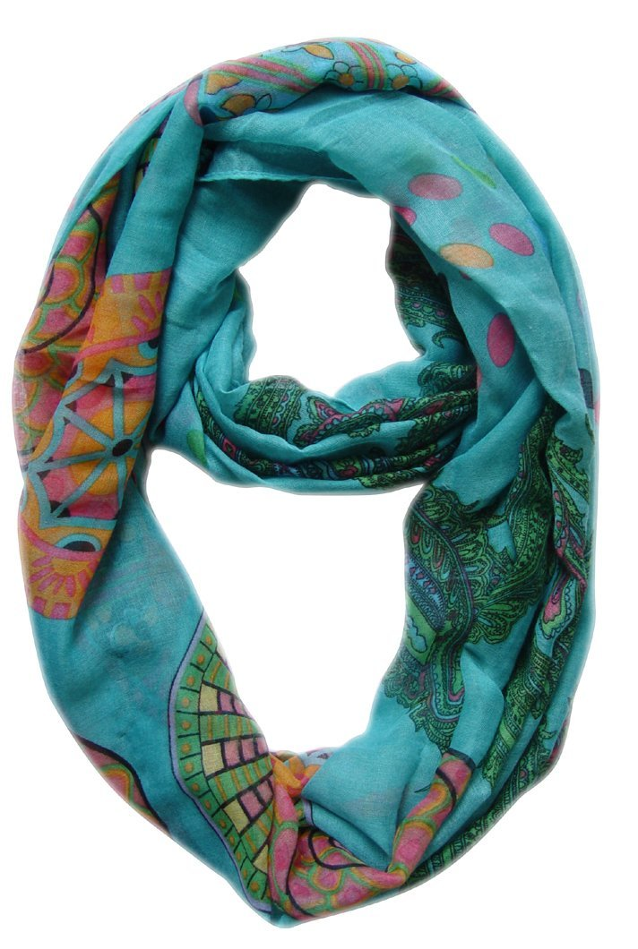 Aqua Vivid & Lively Lightweight Paisley Damask Infinity Loop Scarf