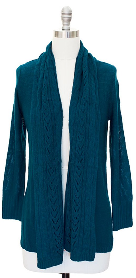 Vintage Knit Draped Cardigan (Large, Teal)