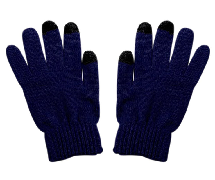 Navy Unisex Knitted Texting Gloves for Android Smart phones Touch screens