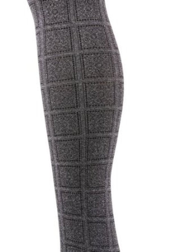 Women's Charcoal Sun Blocks Pattern Fashion Tights