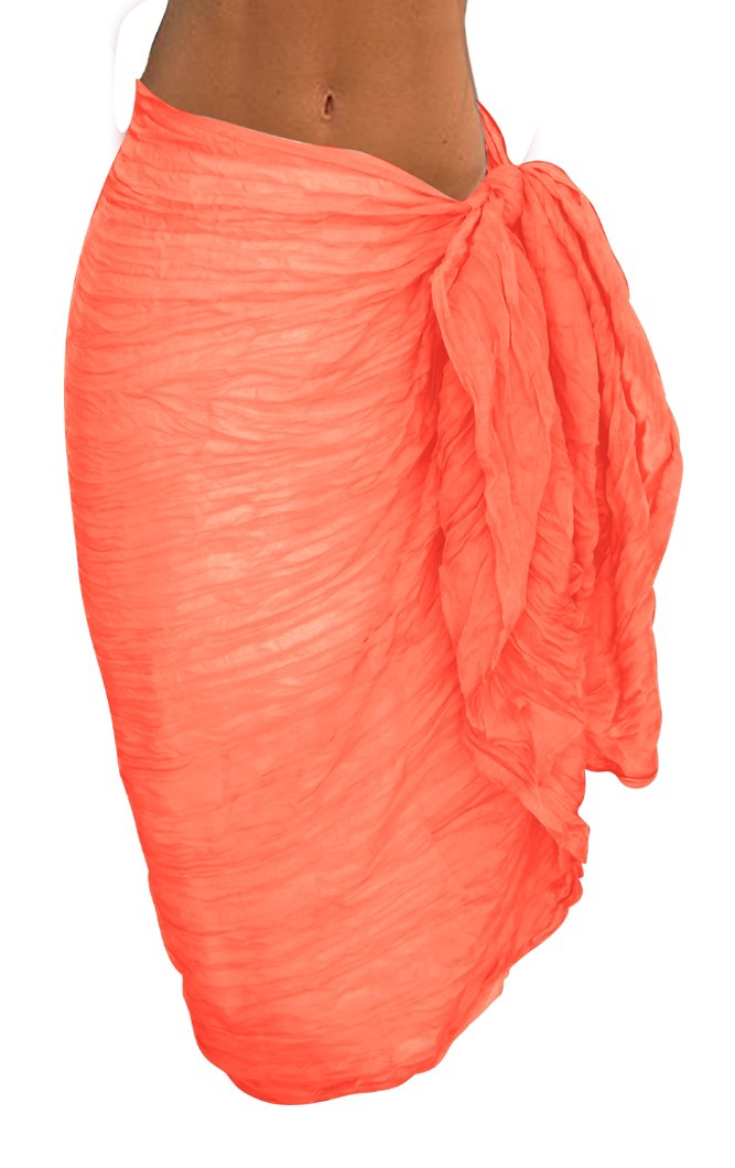 Peach Couture Solid Colorful Soft Crinkled Lightweight Versatile Wrap Scarf