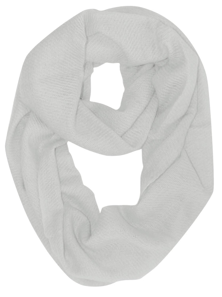 White Light and Soft Luxurious Cashmere Wool Infinity Loop Wrap Scarf
