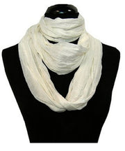Light & Soft Solid Crinkled White 100% Cotton Loop Scarf