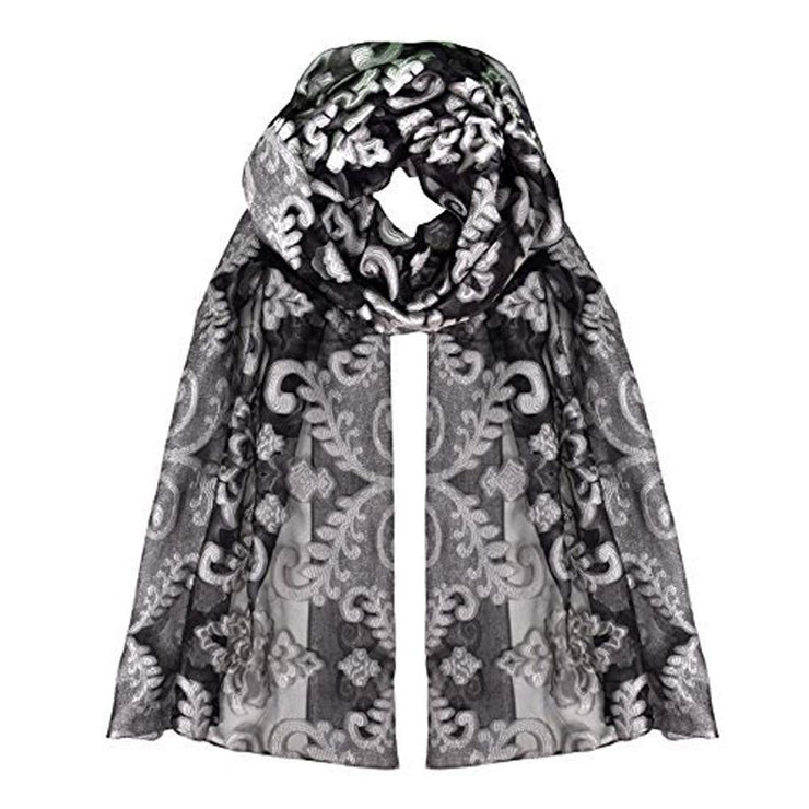 Summer Fashion Lightweight Floral Embroidered Burnout Scarf (Black White)
