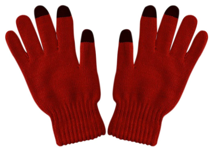 Unisex Warm Knitted Texting Gloves for Iphone Android Smart phones Touch screens Red