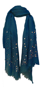 Long-Gold-Stud-Scarf-Blue-FBA-DDI