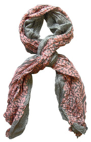 Peach Couture All Seasons Retro Zebra and Leopard Print Crinkle Scarf