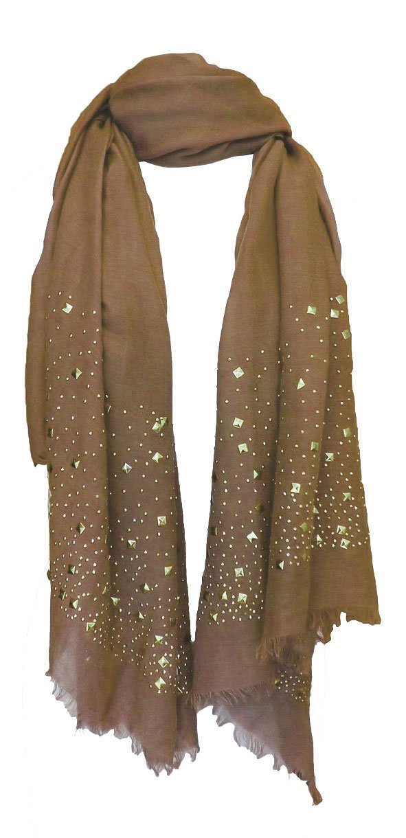 Tan Peach Couture Classic Glittering Sparkle Studded Scarf Shawl Wrap