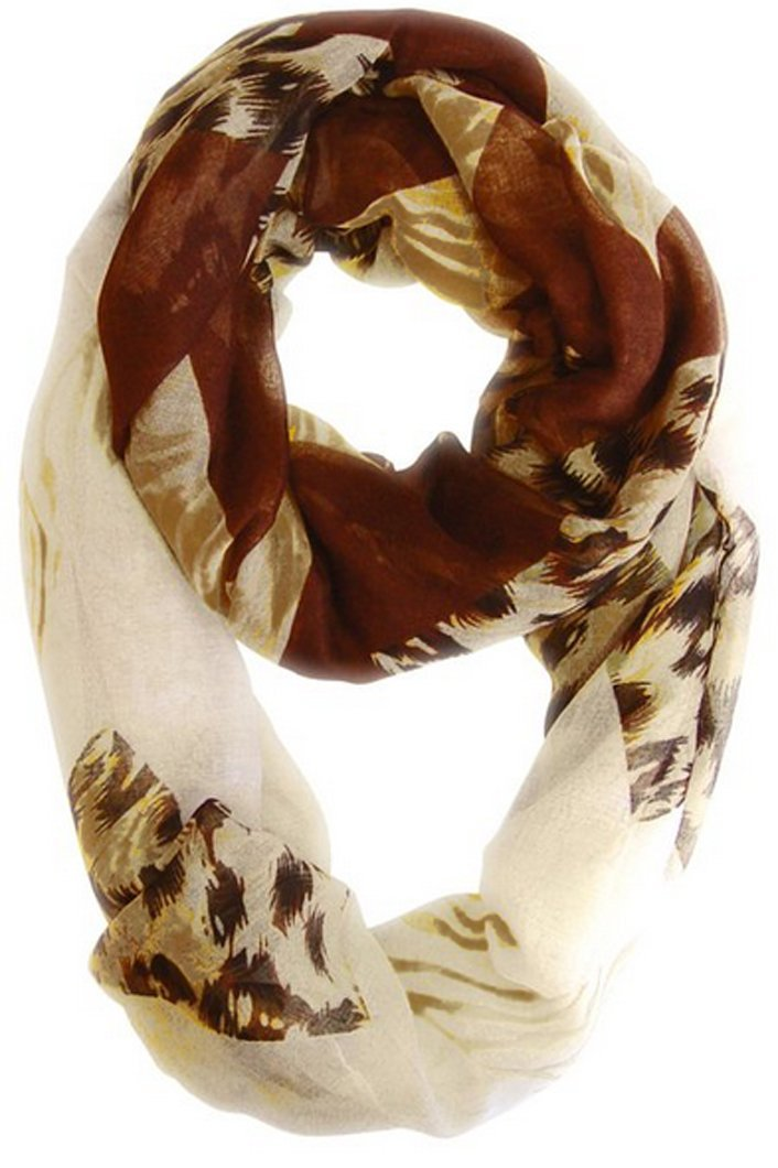 Brown and Tan Peach Couture Animal Print Wide Chevron Design Summer Infinity Loop Scarf