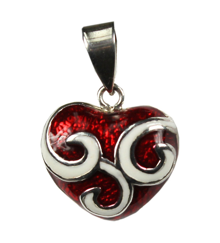 Women's Jewelry Cute Swirly Dazzling Red Heart Pendant Necklace Charm