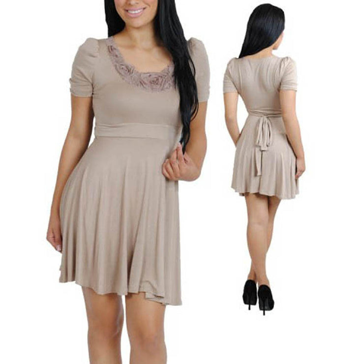 Peach Couture Chic Khaki Short Sleeve Waist Tied Floral Neckline Mini Dress