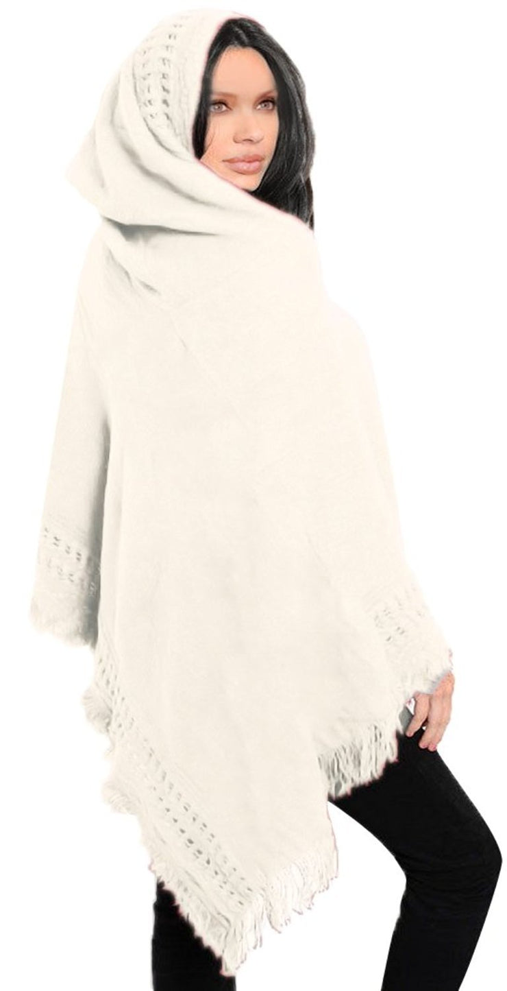 Women's Snug and Warm Crochet Hooded Fringe Wrap Shawl Poncho