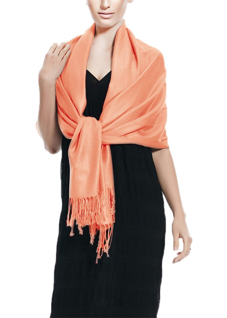 Soft Silky Rayon Pashmina Shawl Wrap Scarf in Solid Color (Coral)