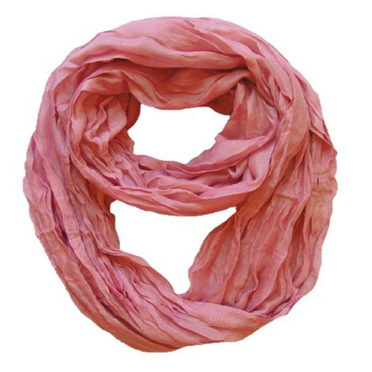Dusty Rose Peach Couture Fashion Lightweight Crinkled Infinity Loop Scarf Neon Faded Ombre