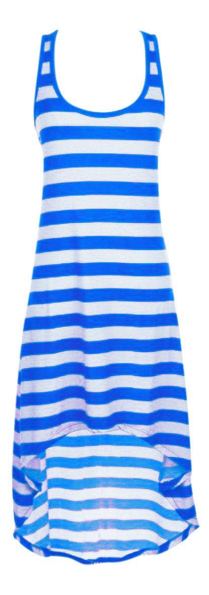 Peach Couture Summer Sleeveless Tank Racerback Stripe Hi-Lo Maxi Sundress