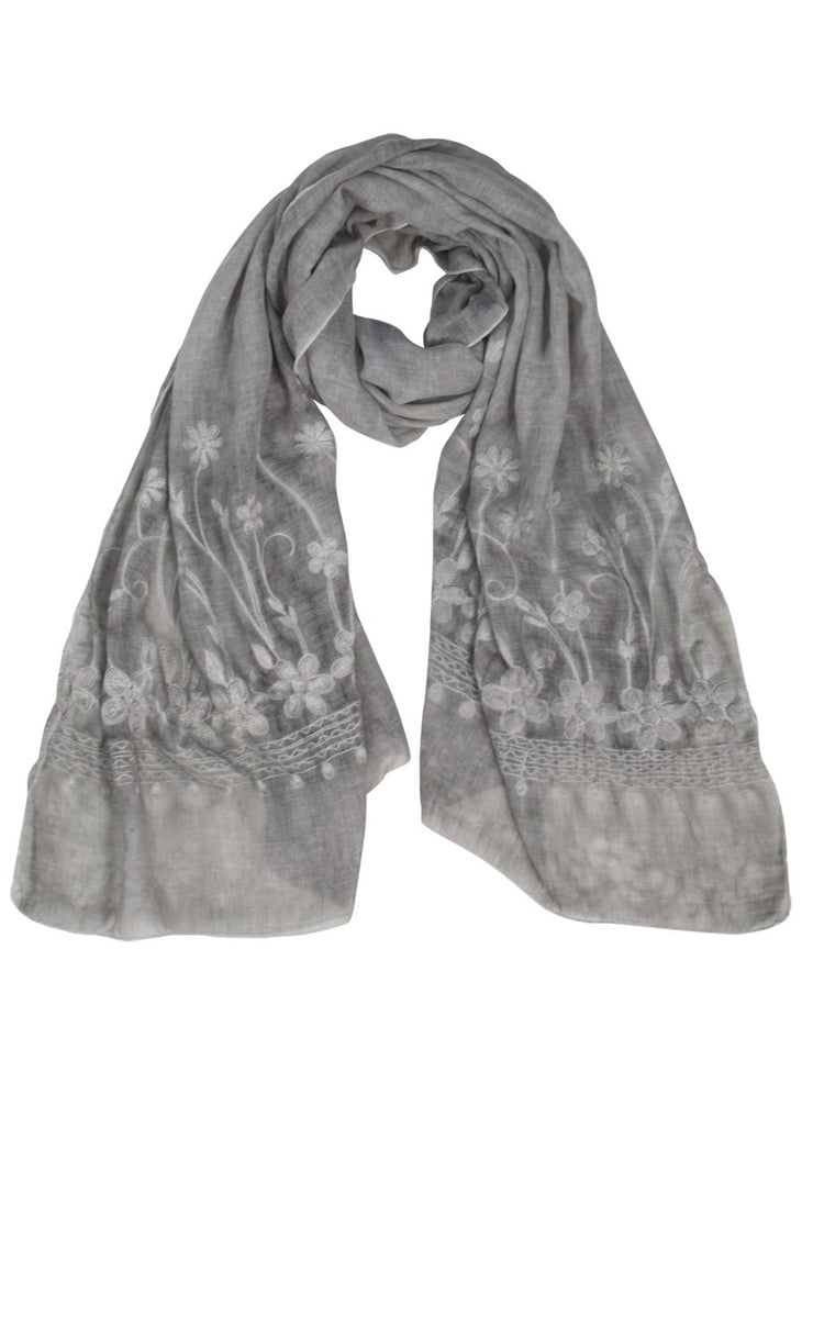 Lightweight Sheer Embroidered Scarf Shawl Wrap