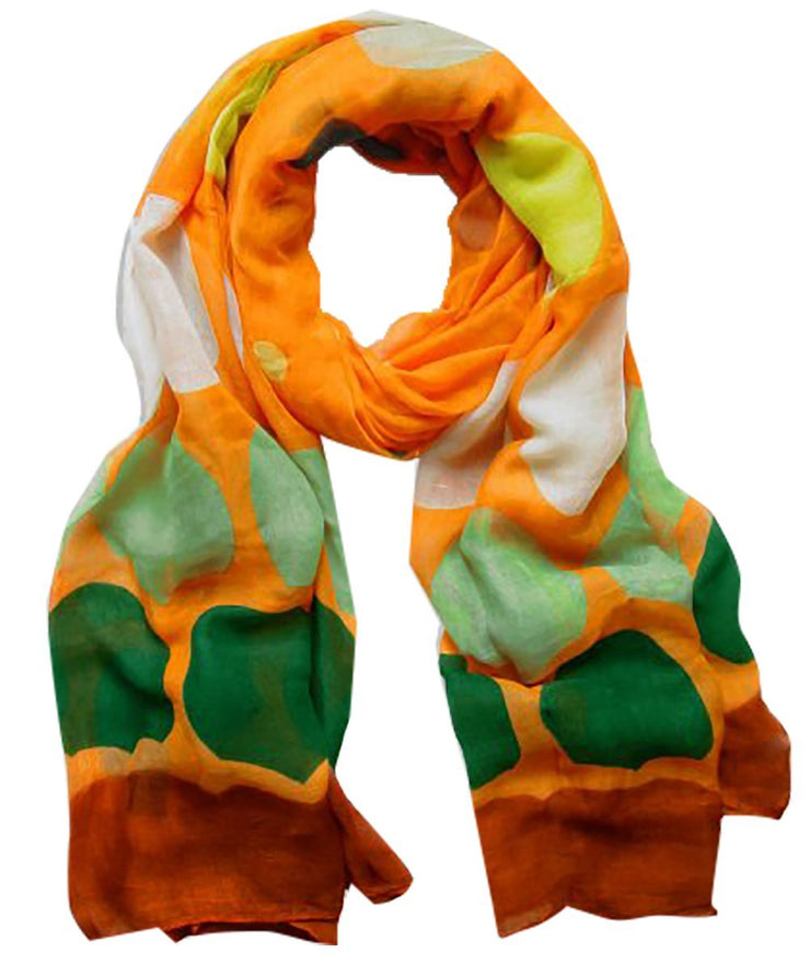 Orange Peach Couture Playful Modern Multicolored Polka Dot Scarf wrap shawl