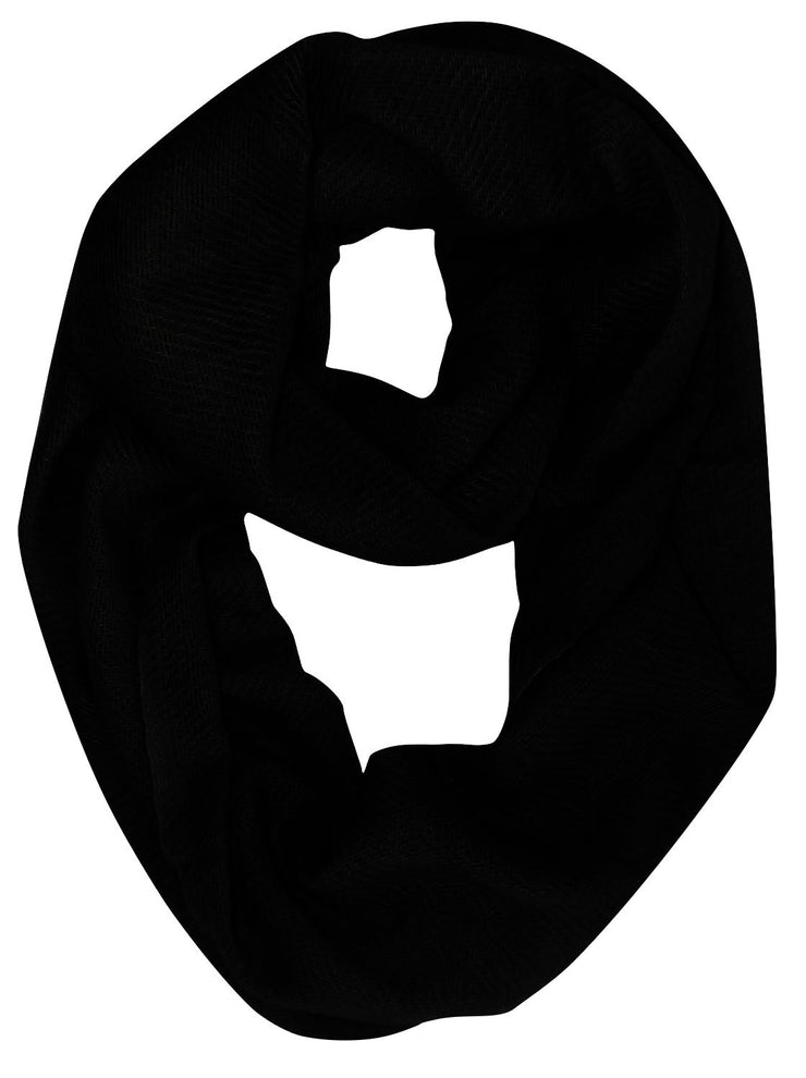 Black Light and Soft Luxurious Cashmere Wool Infinity Loop Wrap Scarf