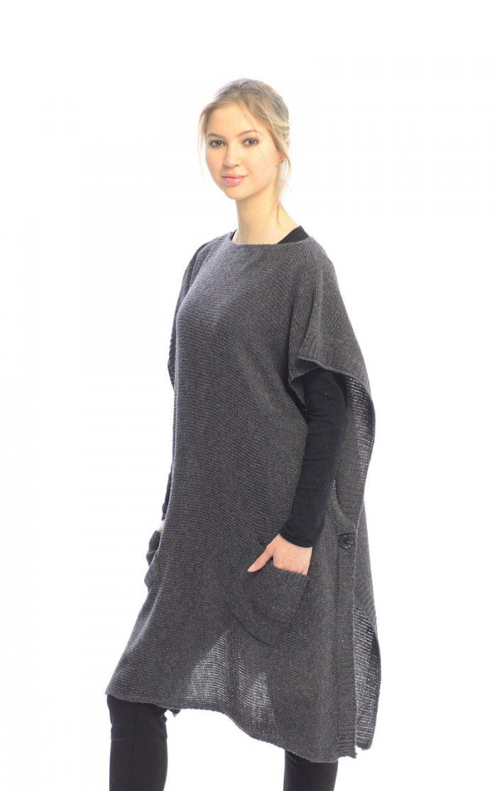 A7004-Sweater-Button-Poncho-Grey-MRC