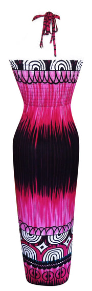 Exotic Tie Dye Self Tie Halter Vacation Maxi Dress Deep Fuchsia L