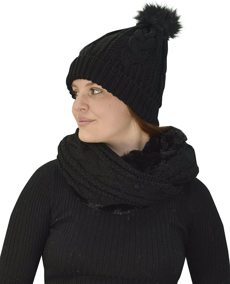 Black Thick Warm Crochet Beanie Hat & Plush Fur Lined Infinity Loop Scarf Set