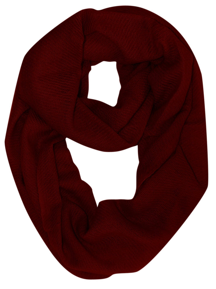 Maroon Light and Soft Luxurious Cashmere Wool Infinity Loop Wrap Scarf