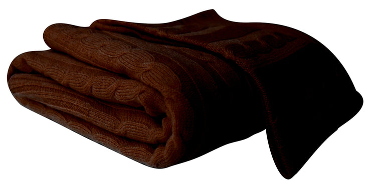 Cozy & Warm Cable Knit Cashmere Wool Soft Throw Blanket 50 x 60